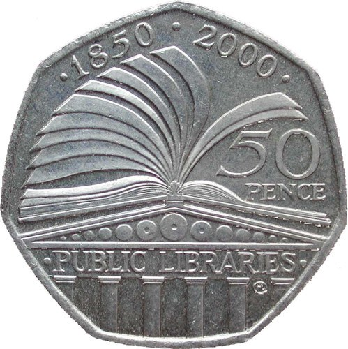 Collectable 50p COIN 50 pence 150th ANNIVERSARY OF PUBLIC LIBRARIES DATED 2000