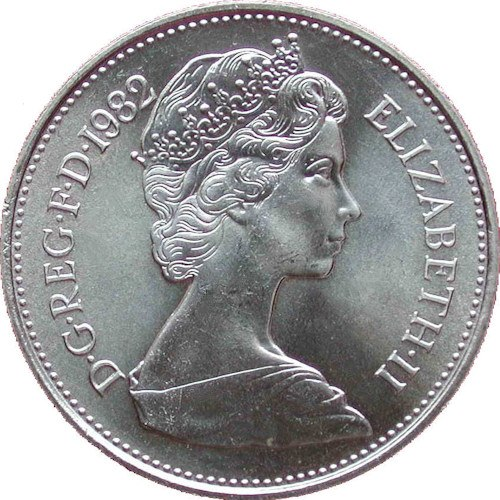 Obverse Type 1 Used 1968 1984 Bust Design By Arnold Machin